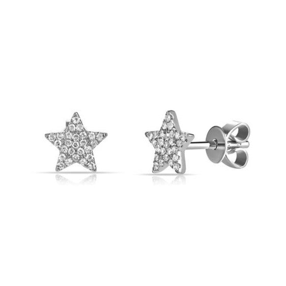 14K Gold and Diamond Pave Star Stud Earring - Designer Earrings - The EarStylist by Jo Nayor