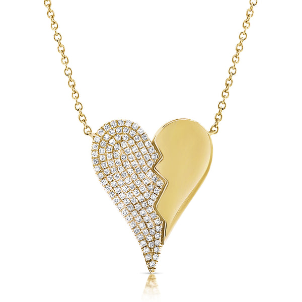 Jagged Heart Diamond Necklace - Designer Earrings - The EarStylist by Jo Nayor
