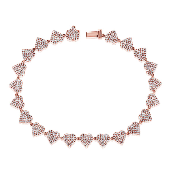Diamond Pave Heart Bracelet - Designer Earrings - The EarStylist by Jo Nayor