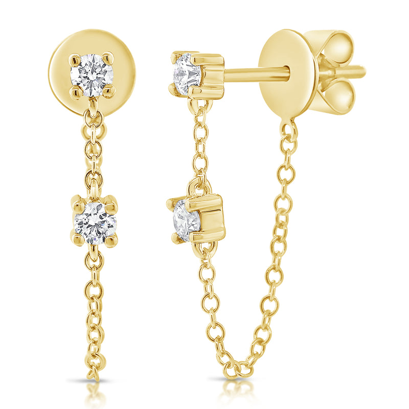 Tethered Prong Set Diamond Earring - Designer Earrings - Ear Stylist
