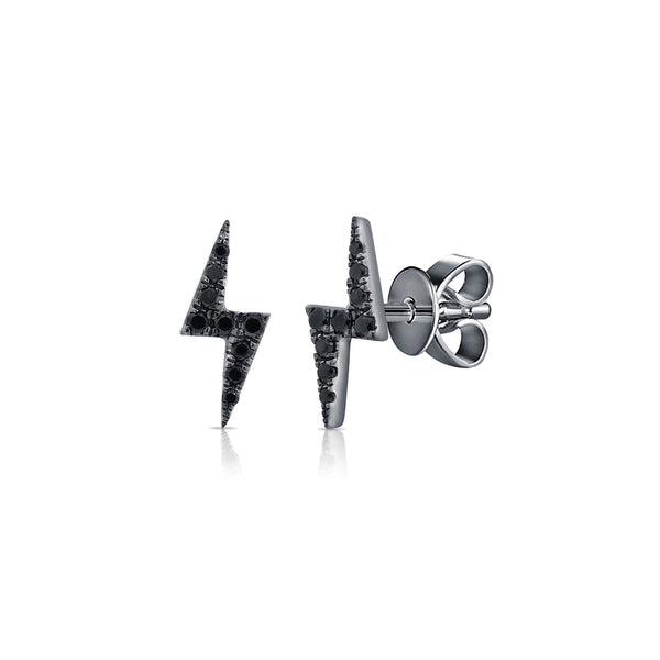 Black Diamond Lightning Bolt Stud Earrings - The Ear Stylist by Jo Nayor