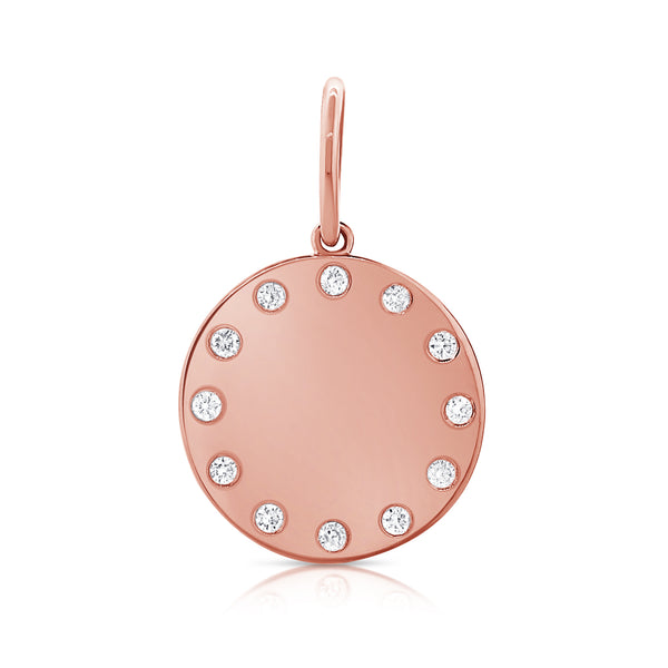 Burnished Diamond Disc Charm - Designer Earrings - The EarStylist by Jo Nayor