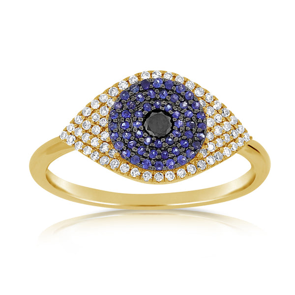 Diamond and Sapphire Evil Eye Ring - Designer Earrings - The EarStylist by Jo Nayor