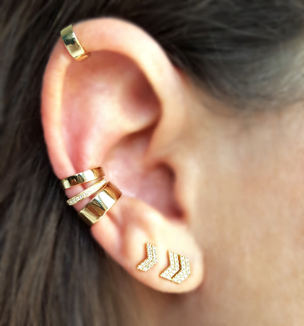 Solid Gold Mini-Ear Cuff - Designer Earrings - The EarStylist by Jo Nayor