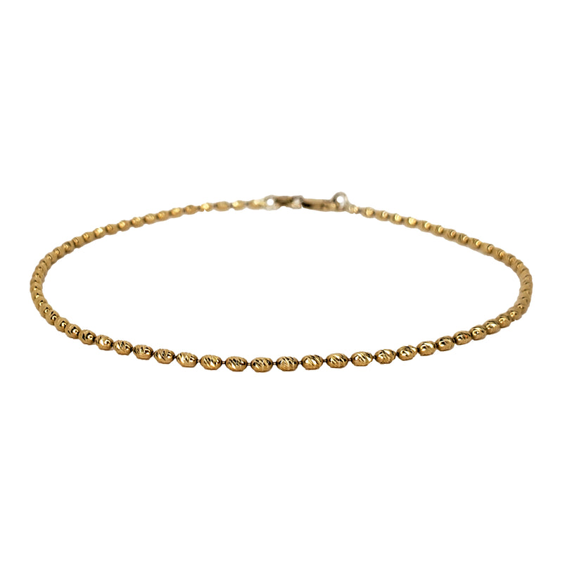 Gold Barrel Bead Anklet - Designer Earrings - The EarStylist by Jo Nayor