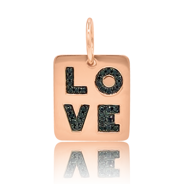 Black Diamond Mini Love Tag - Designer Necklaces - Jo Nayor Designs