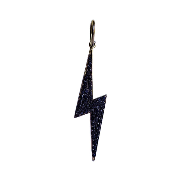 Large Black Diamond Lightning Bolt Charm - Designer Earrings - The EarStylist by Jo Nayor
