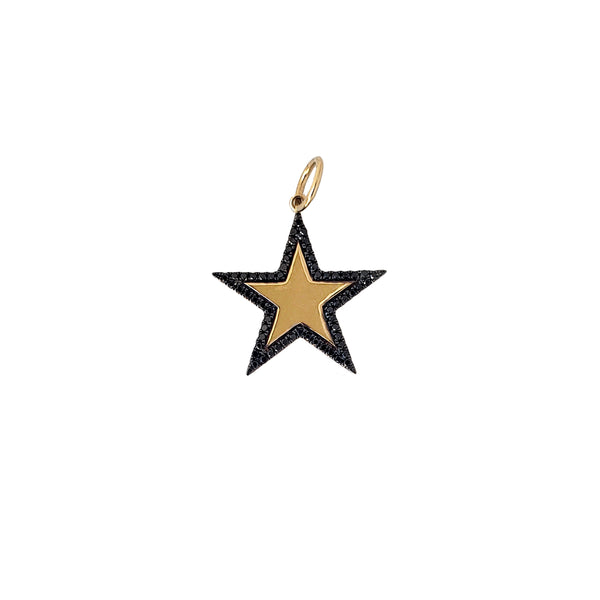 Black Diamond Border Star Charm - Designer Earrings - The EarStylist by Jo Nayor