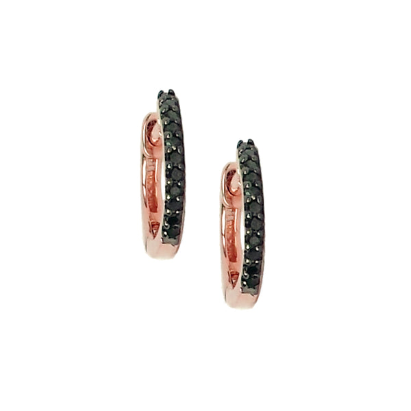 Black Diamond Mini Hoop Earrings - Designer Earrings - The EarStylist by Jo Nayor