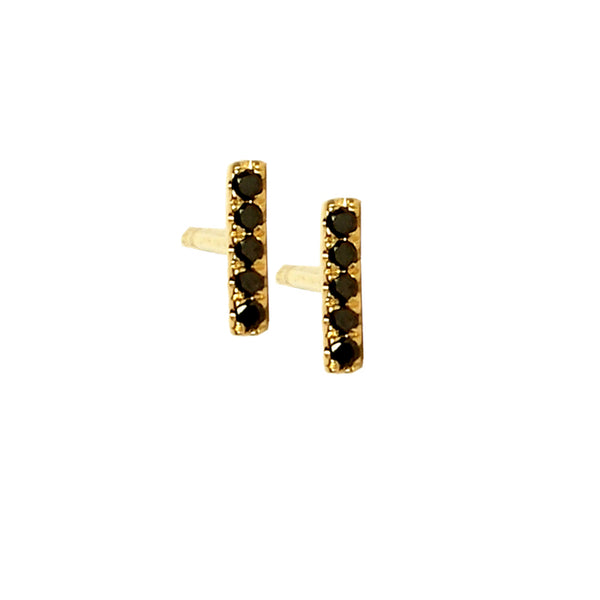 Black Diamond Mini Stick Stud Earring - Designer Earrings - The EarStylist by Jo Nayor