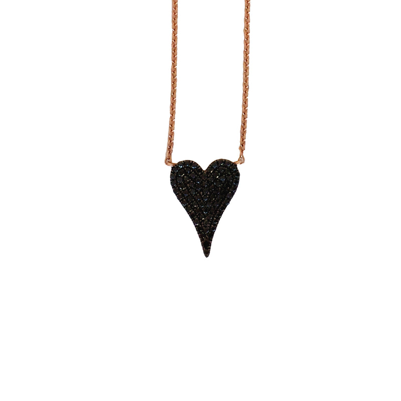 Black Diamond Pave Heart Necklace - Designer Earrings - The EarStylist by Jo Nayor