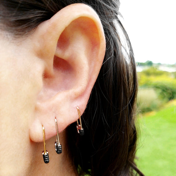 Black Diamond Safety Pin Earring - Designer Earrings - The EarStylist by Jo Nayor