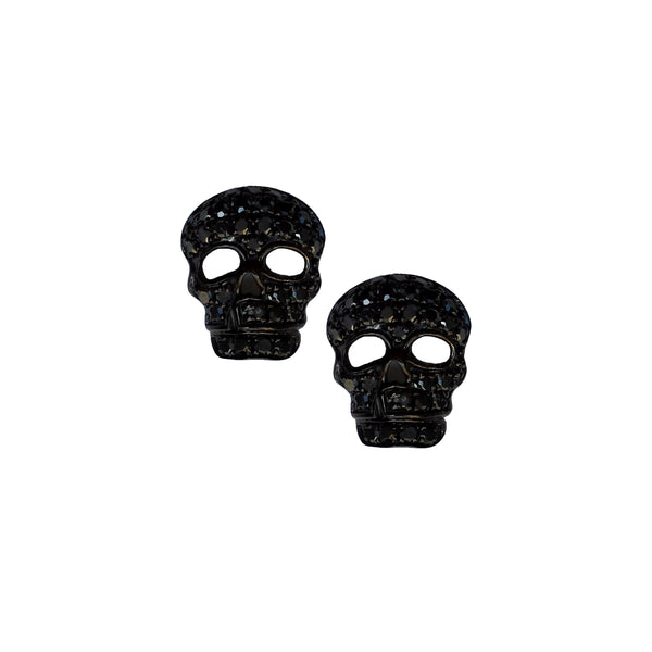 Black Diamond Skull Post Earring - Designer Earrings - The EarStylist by Jo Nayor