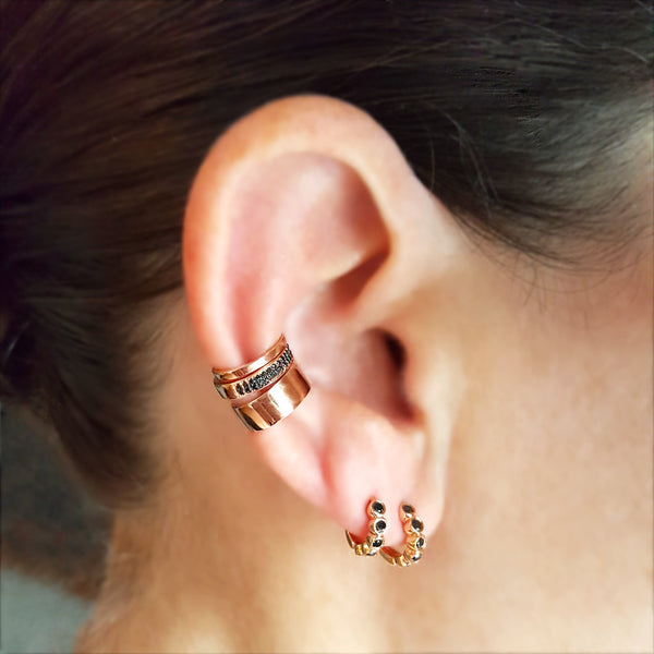 Five Bezel Black Diamond Mini Hoop Earrings - Designer Earrings - The EarStylist by Jo Nayor