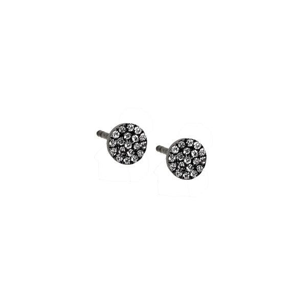 Black Diamond Circle Stud Earring - Designer Earrings - The EarStylist by Jo Nayor