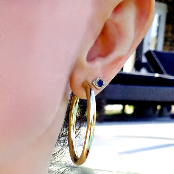Sapphire and Diamond Evil Eye Earring - Designer Earrings - The EarStylist by Jo Nayor