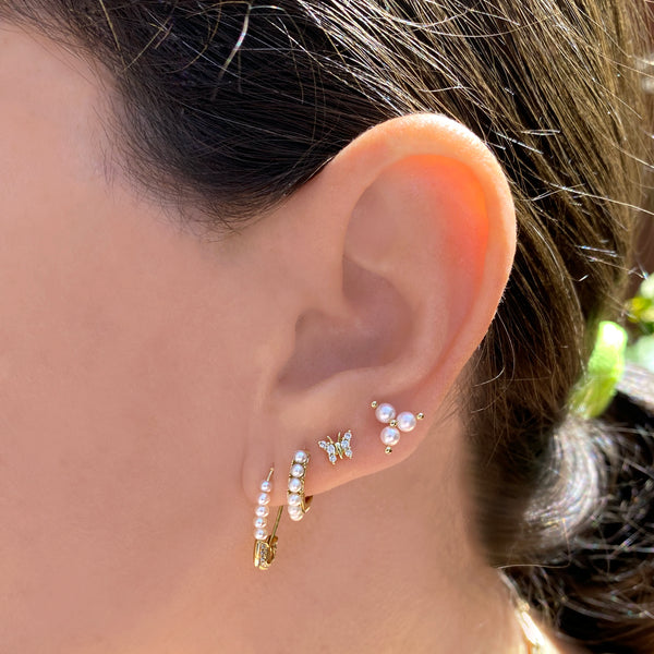 Pearl Safety Pin Earring - Designer Earrings - The EarStylist by Jo Nayor