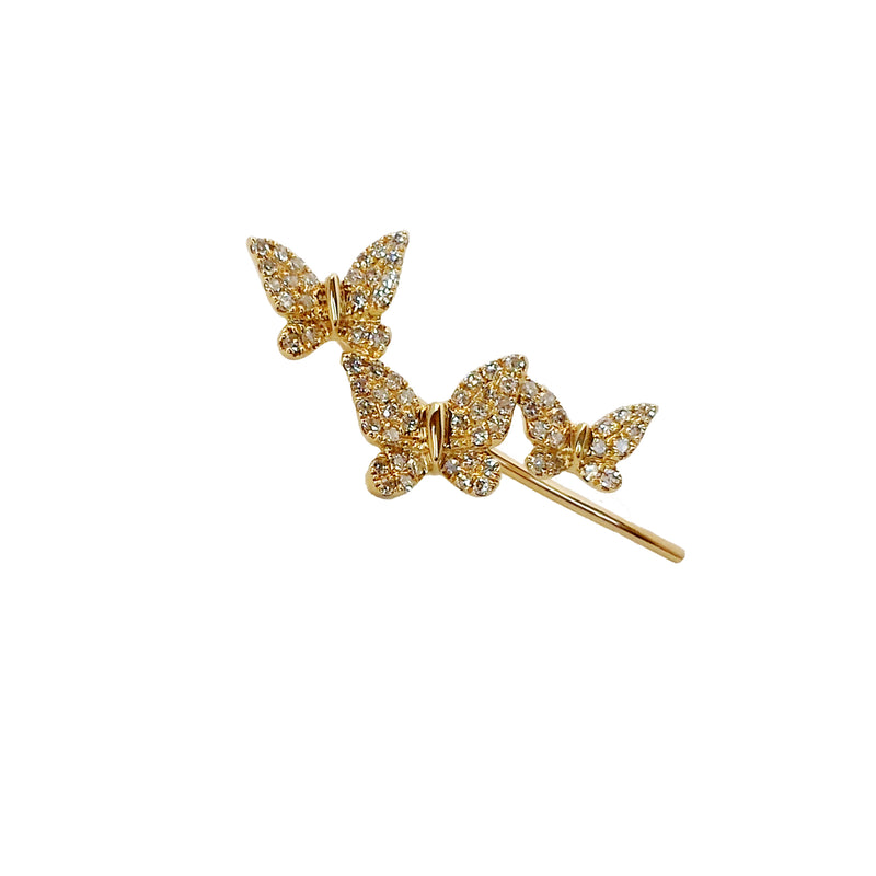Diamond Butterfly Climber - Designer Earrings - The EarStylist by Jo Nayor