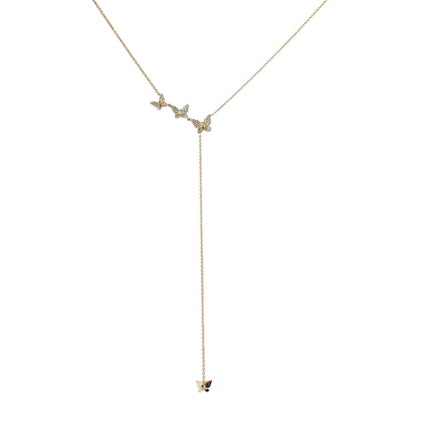 Diamond Butterfly Lariat Necklace - Designer Earrings - The EarStylist by Jo Nayor