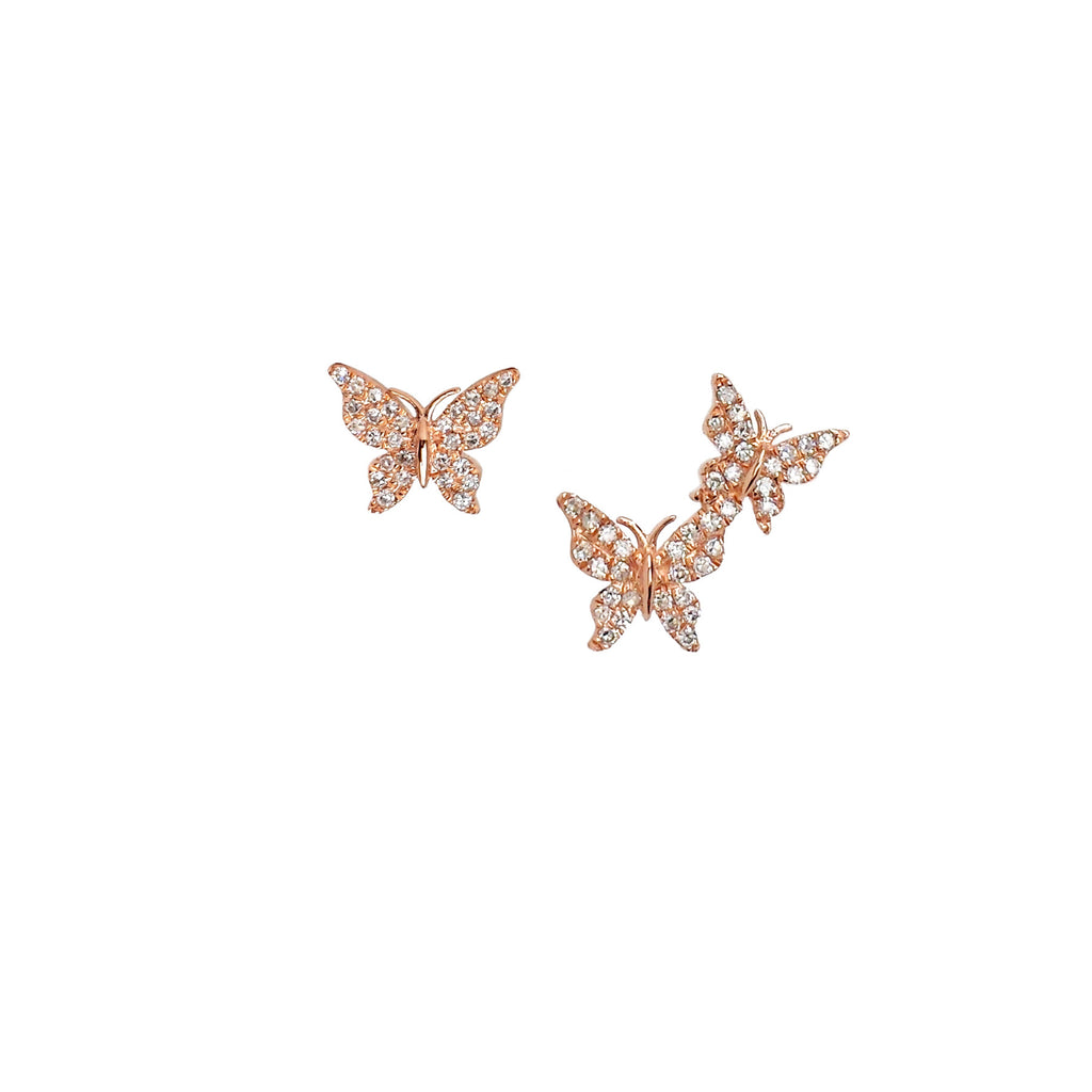 14K Rose Gold & Diamond Butterfly Post Earrings