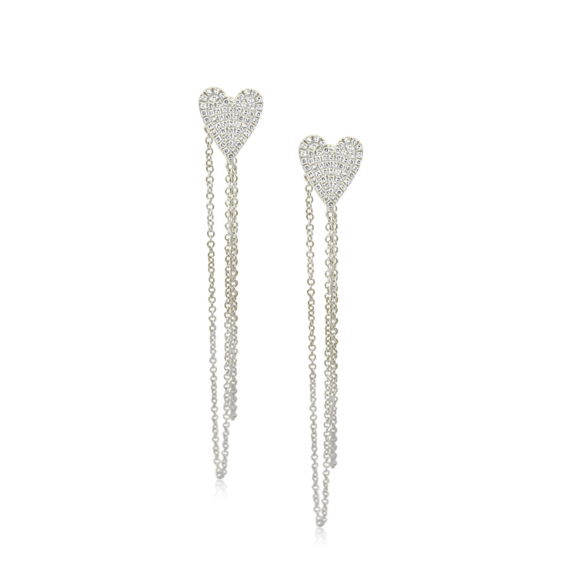 Cascading Diamond Heart Studs - Designer Earrings - The Ear Stylist