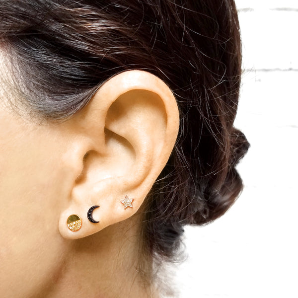Black Diamond Mini Moon Earring - Designer Earrings - The EarStylist by Jo Nayor