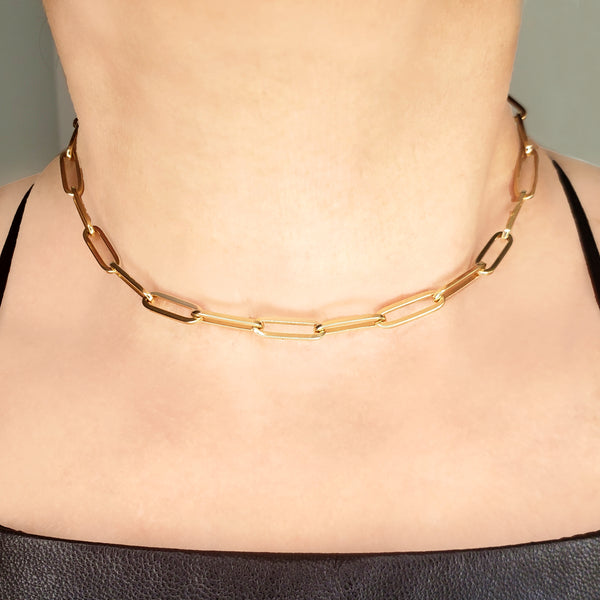 Colossal Link 14K Gold Chain Necklace - Designer Earrings - The EarStylist by Jo Nayor