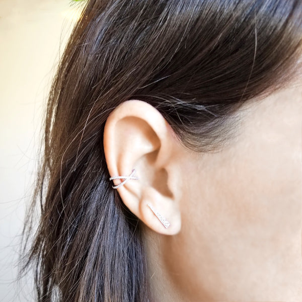 X Ear Cuff - Designer Earrings - The EarStylist by Jo Nayor