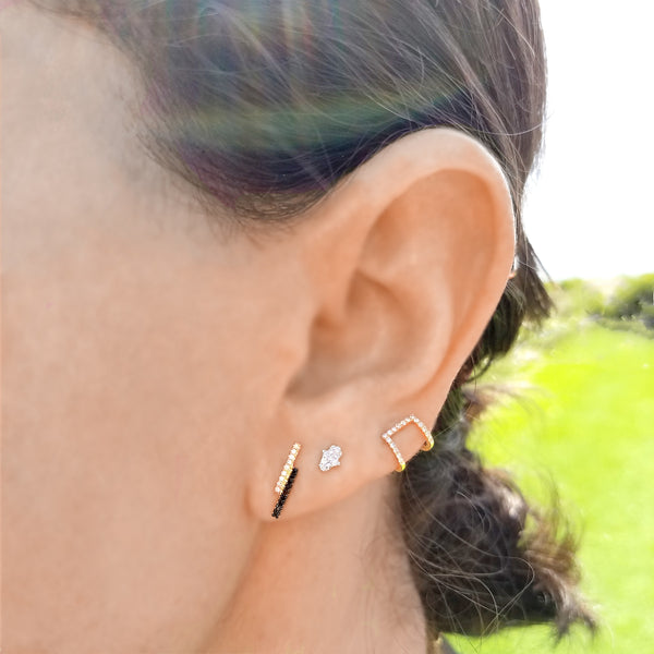 Gold & Diamond Cage Post Earring - The Ear Stylist by Jo Nayor