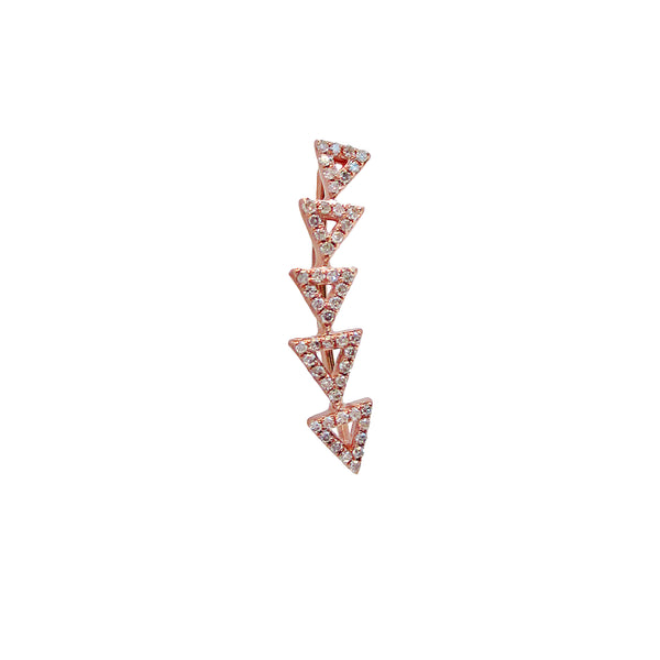 Gold and Diamond Open Triangle Climber Earring - Designer Earrings - The EarStylist by Jo Nayor