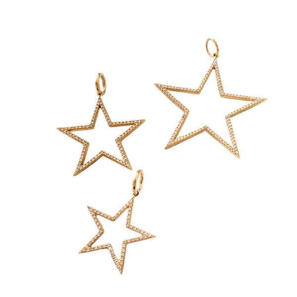 Cut Out Diamond Star Charms - Designer Earrings - The EarStylist by Jo Nayor