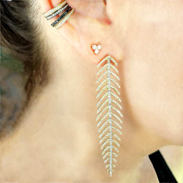 Diamond Feather Earring - The Ear Stylist by Jo Nayor