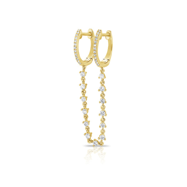 Diamond Chained Hera Hoops - Diamond Earring - Ear Stylist by Jo Nayor