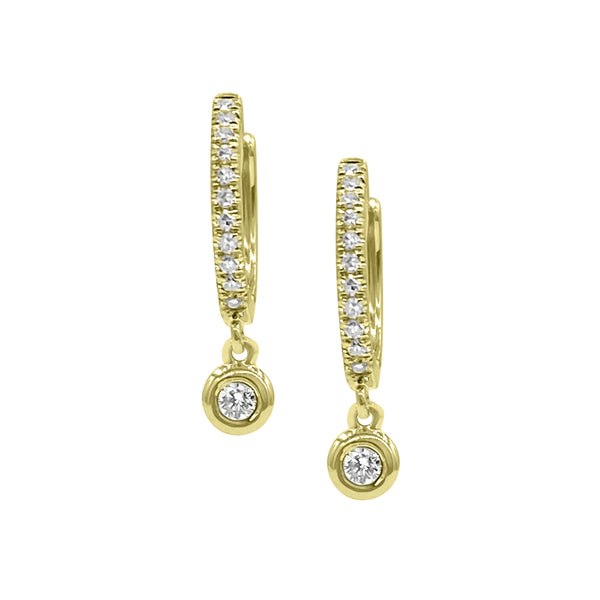 Diamond Drop Huggies - Designer Earrings - The Ear Stylist by Jo Nayor