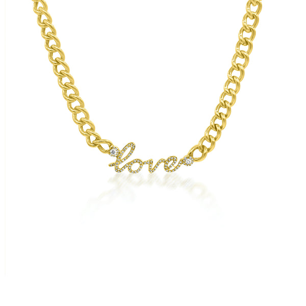 Diamond Love Curb Chain Necklace - Designer Necklaces - Jo Nayor