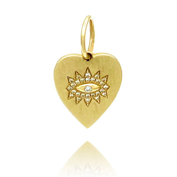 Mini Evil Eye Diamond Heart Charm - Designer Earrings - The EarStylist by Jo Nayor