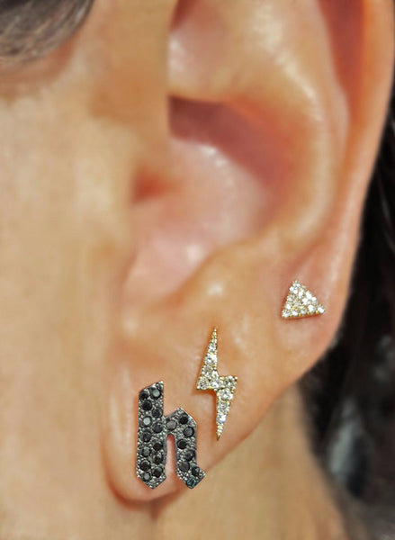 Black Diamond Initial Stud Earring - Designer Earrings - The EarStylist by Jo Nayor