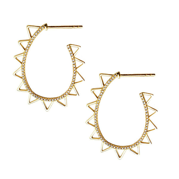 Diamond Sol Hoop Earrings - Designer Earrings - The EarStylist by Jo Nayor