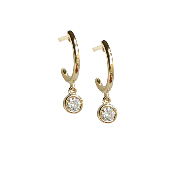 Dangling Diamond Mini Hoop Earrings - Designer Earrings - The EarStylist by Jo Nayor