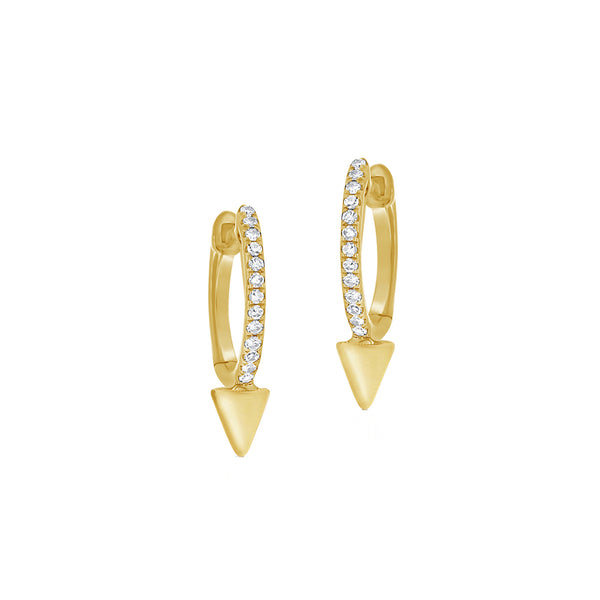 Diamond & 14K Gold Spike Hoop Earrings - The Ear Stylist by Jo Nayor