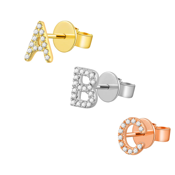 Gold and Diamond Initial Earring - The Ear Stylist by Jo Nayor