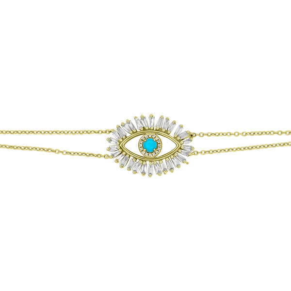 Diamond and Turquoise Evil Eye Bracelet - Designer Earrings - The EarStylist by Jo Nayor
