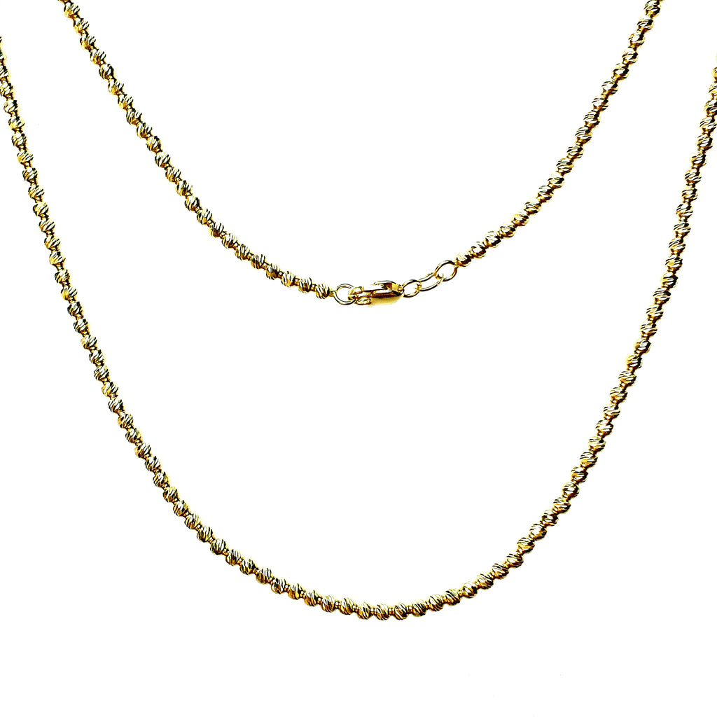 Solid 14K Gold Disco Bead Necklace - Designer Earrings - The EarStylist by Jo Nayor