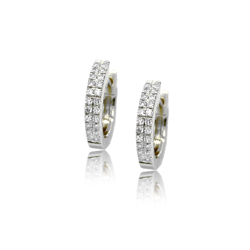 Double Row Diamond Huggies - Designer Earrings - The EarStylist