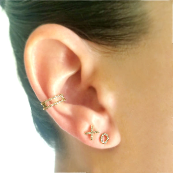 Two Layer Diamond & Gold Ear Cuff - Designer Earrings - The EarStylist by Jo Nayor