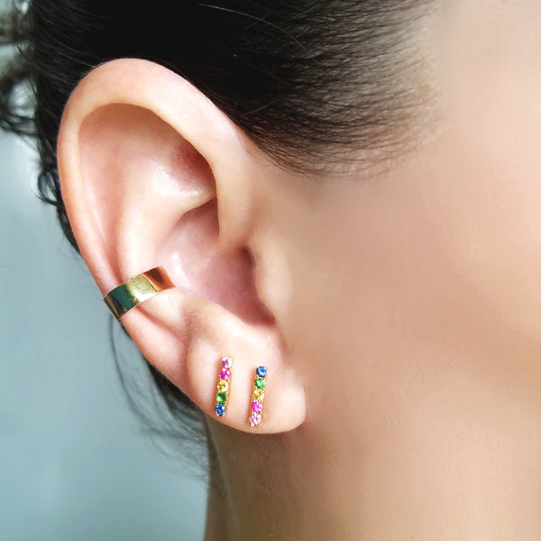 Rainbow Mini-Stick Stud Earring - Designer Earrings - The EarStylist by Jo Nayor
