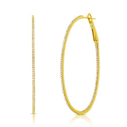 Medium Micro Pave Diamond Hoop Earrings - Designer Earrings - The EarStylist by Jo Nayor