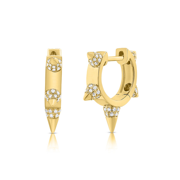 Five Spike Diamond Hoop Earrings - Designer Earrings - The EarStylist by Jo Nayor