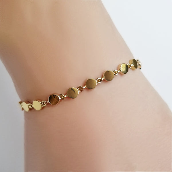 14K Gold Disc Link Bracelet - The Ear Stylist by Jo Nayor