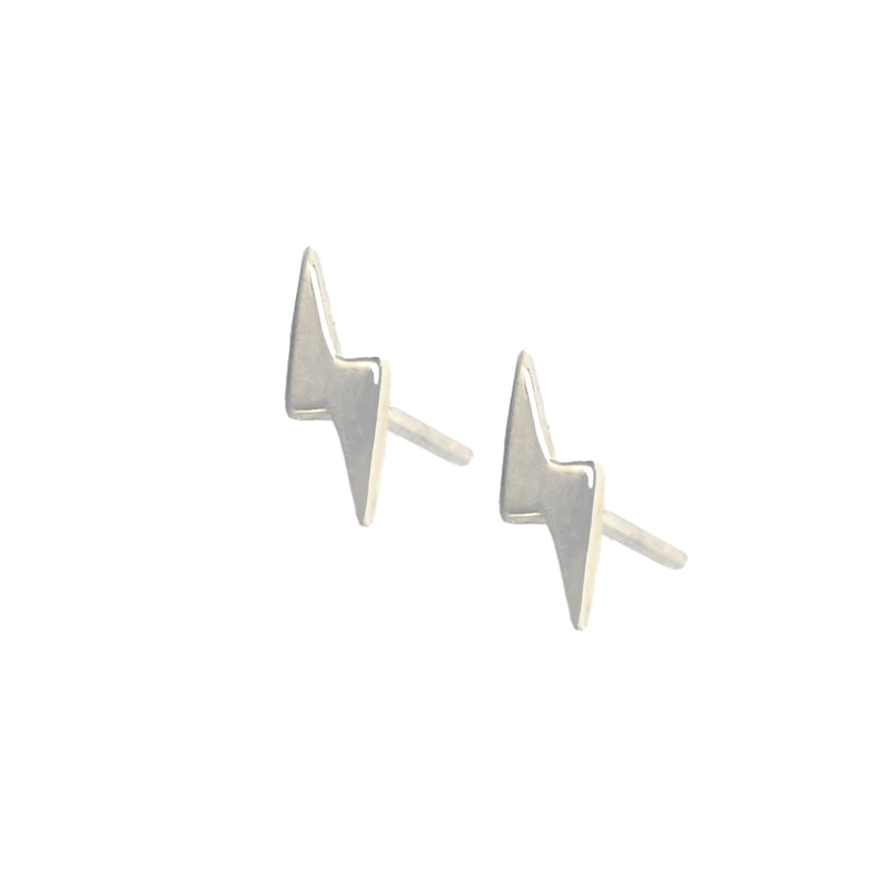 14K Gold Lightning Bolt Stud Earrings - Designer Earrings - The EarStylist by Jo Nayor